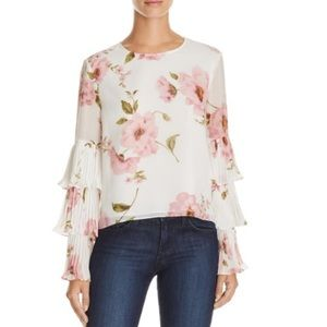 M - Lucy Paris Floral Pleated Bell Sleeve Top